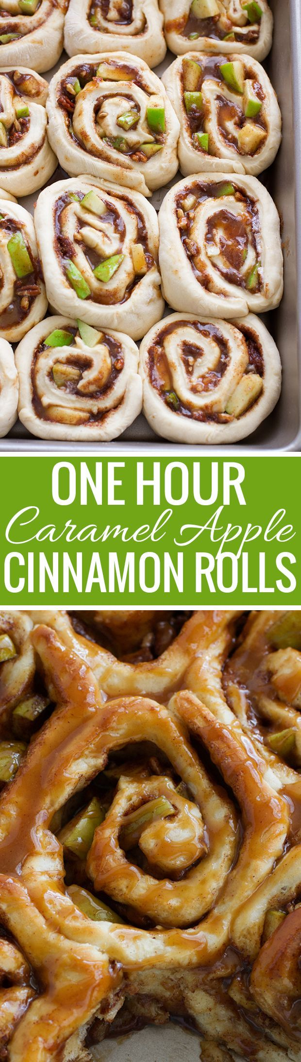 Caramel Apple Cinnamon Rolls - Ready in 1 Hour and so good! Perfect for apple season! #cinnamonrolls #onehourcinnamonrolls #breakfastrolls | http://Littlespicejar.com /littlespicejar/