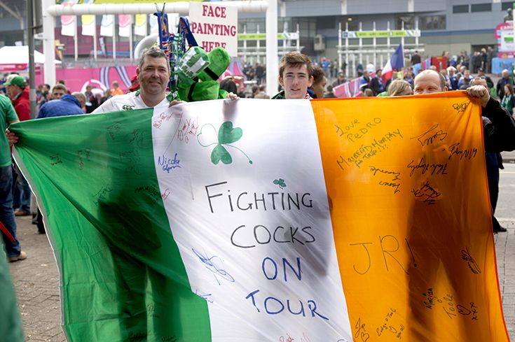 Fighting cocks on tour - IRE v FRA - Millennium Stadium, Rugby World Cup 11th Oct, 2015. NetBet #MakeSomeNoise campaign. For more info visit www.dicelondon.com