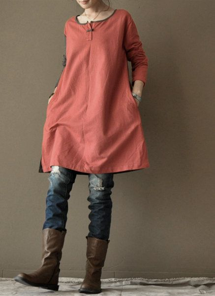Red loose cotton dress … …