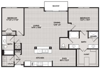 Floorplans B3 2 BEDROOM 2 BATH