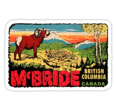 McBride British Columbia BC Canada Vintage Travel Decal / These retro travel designs will make a great addition to your RV / Airstream / Winnebago / travel trailer / motorhome / westfalia / pickup / luggage / thule / dog / baby – the awesome can go anywhere! Don't settle for boring, load up on vintage class. / WAIT! Before you leave, check out my HUGE selection (multiple collections) of other vintage travel decals!* • Also buy this a...