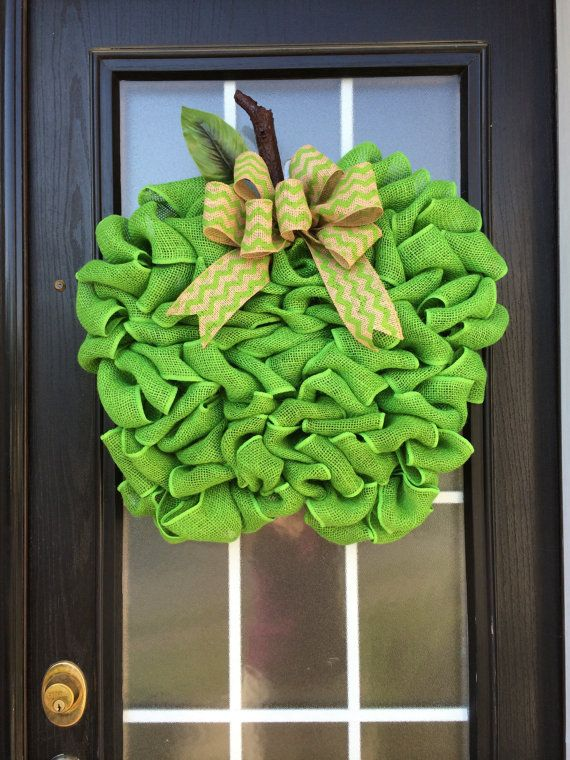 Extra Large Burlap Apple Wreath Granny Smith Green by SnappyPea, $54.99