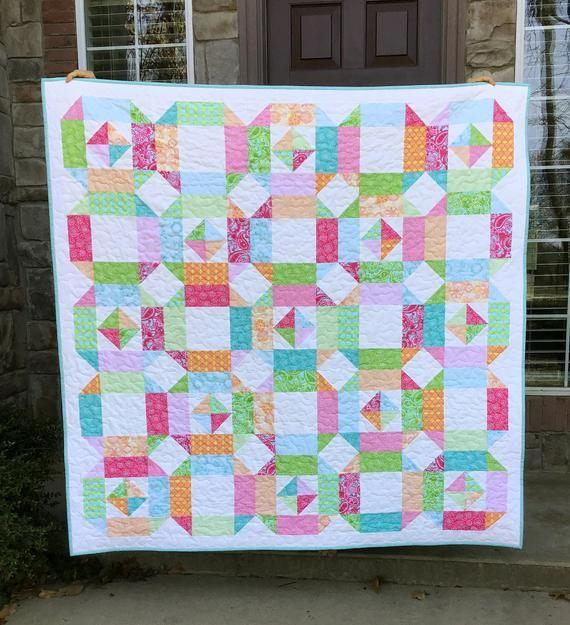 Pajama Party Quilt Pattern Pdf 5 Sizes Baby Lap Twin Etsy Baby Quilt Patterns Easy Quilt Patterns Quilt Patterns