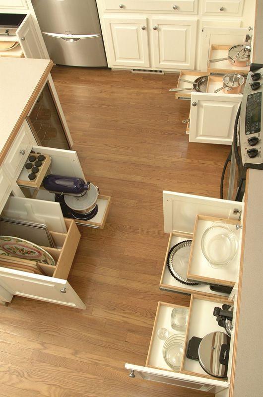 Kitchen organization by Shelf Genie: Cookies Sheet, Kitchens Shelves, Kitchens Ideas, Kitchens Drawers, Pull Outs Shelves, Shelf Genie, Kitchens Cabinets, Kitchens Storage, Kitchens Organizations