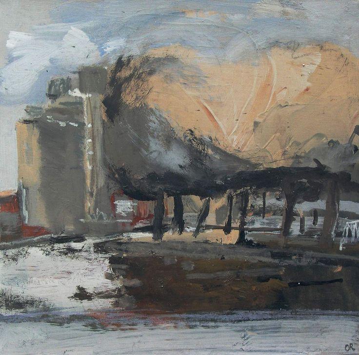 https://flic.kr/p/3t74po | Paysage urbain | immeubles le long du canal de l'Ourcq mixed media on canvas