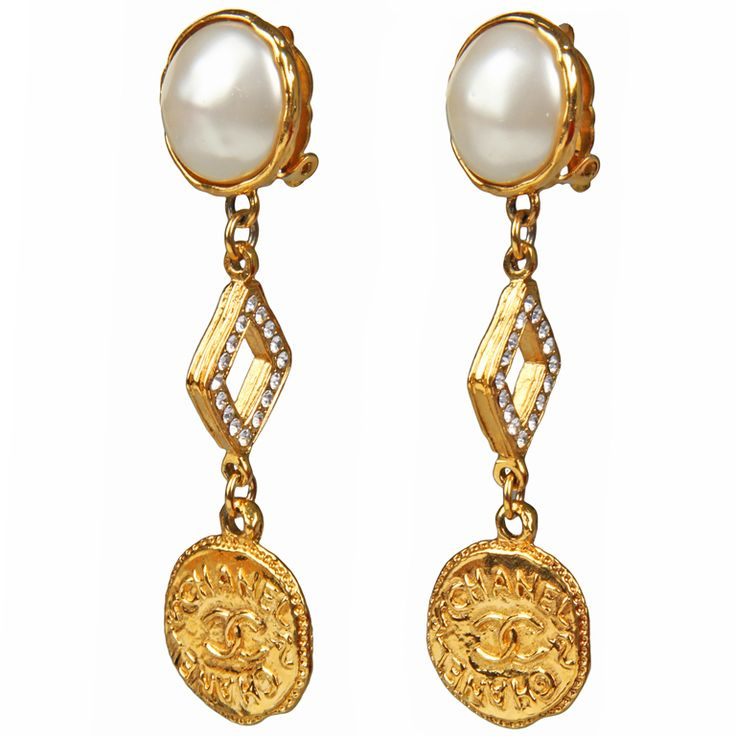 1stdibs | CHANEL Logo Earrings with Rhinestones and Pearls