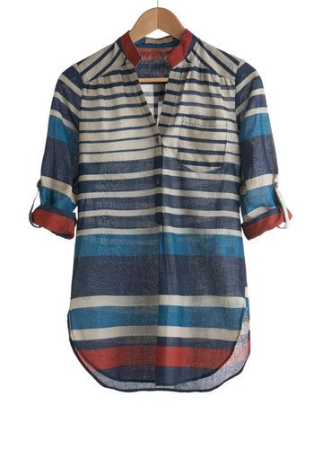 Watercolor Workshop Top, #ModCloth:  differently sized bands of navy, cerulean, off white, and deep rose, this semi-sheer shirt is a testament to the subtle beauty of soft colors that make a statement.