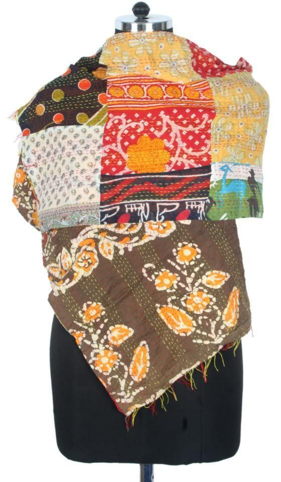 Vintage Cotton Kantha Scarf Stole Saree Neck Wrap Reversible India ID14297 #Handmade #Scarf