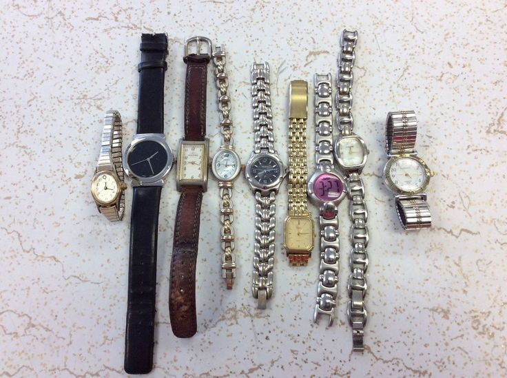 LOT OF 9 LADIES WRIST WATCHES ( ALL WORK) DIFFERENT BRANDS (1 FOSSIL) #mix