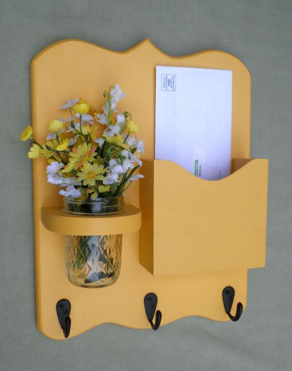Mail Organizer - Letter Holder - Mail Holder - Key Hooks - Key Rack - Jar Vase - Organizer