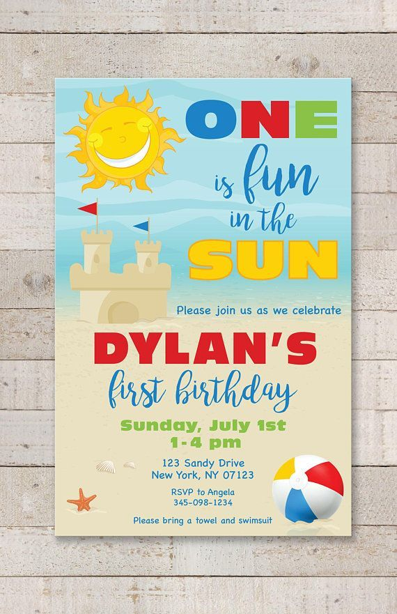 1st Birthday Party Invitations One Is Fun In The Sun Invitations Beach Invitations Pool Pool Birthday Party Beach Birthday Party Photo Birthday Invitations