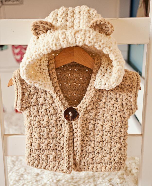 Crocheting : Super Bulky Hooded Vest, crochet pattern by Mon Petit Violon, sizes baby, toddler, child