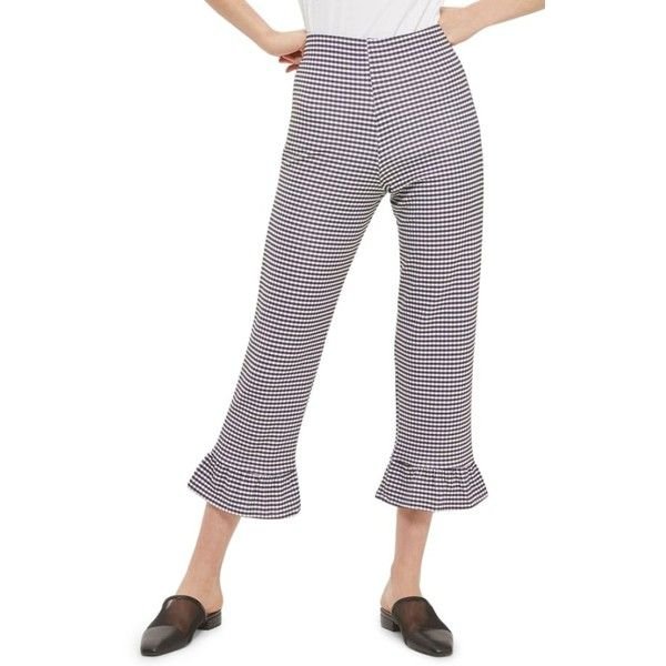Women's Topshop Gingham Ruffle Capri Trousers ($48) ❤ liked on Polyvore featuring pants, capris, black multi, high-waisted pants, high rise trousers, topshop pants, gingham capri pants and topshop trousers