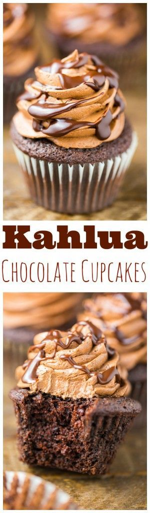 Coffee lovers will go CRAZY over these Kahlua Chocolate Cupcakes! Rich, decadent, and a little boozy. (Mexican Recipes Dessert)