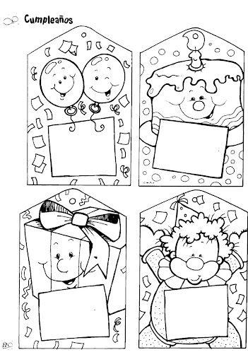 Material educativo para maestros: Carteles y tarjetas de Cumpleaños para colorear