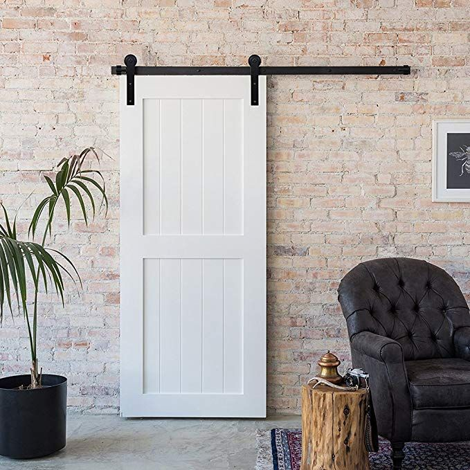 Amazon Com Winsoon 5 6 8 10 12 13 15 16ft Black Straight Design Sliding Roller Barn Single Wood Door Har Barn Doors Sliding Old Barn Doors Interior Barn Doors