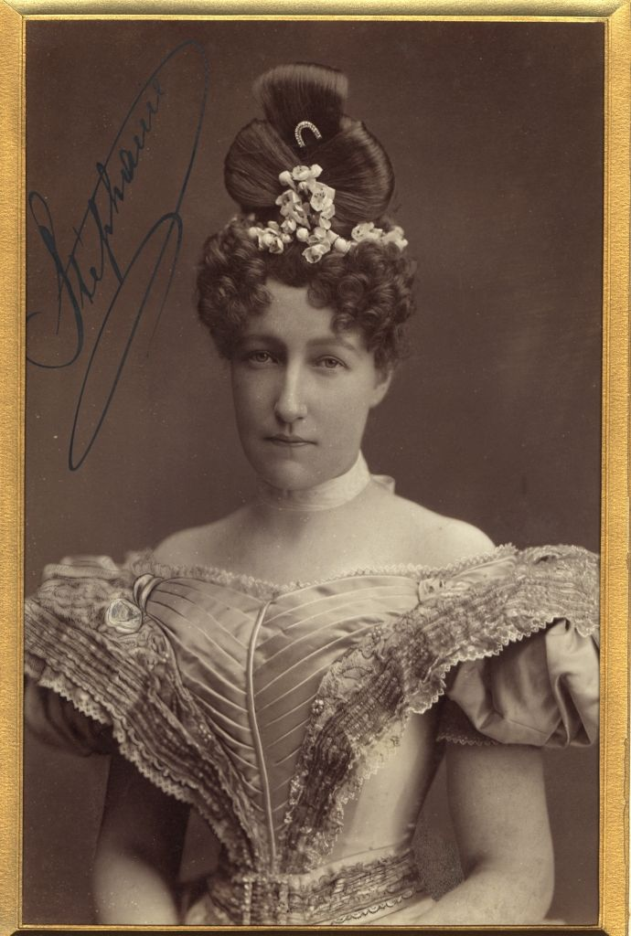 "The Crown Princess of Austria-Hungary, Stephanie of Belgium, dressed in the style of the 1840's for a party. After growing up with a nightmare of a father, she arrived in Vienna a dewy innocent. Empress Elisabeth (Sissi) referred to her as ""Stupid cow."" Crown Prince Rudolf gave her a baby and syphilis, simultaneously.  Disappointment became her way of life. JC"