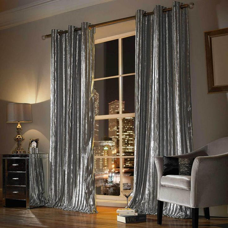 Kylie Minogue Iliana Ready Made Eyelet Curtains Silver | Luxury Ringtop Curtains | UK Delivery