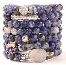 Lapis Lazuli Bolas de Piedra Stretch Strand Pulsera de Apilamiento B15110619(China (Mainland))