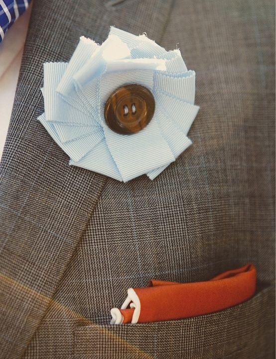 Ribbon & Button Boutonniere