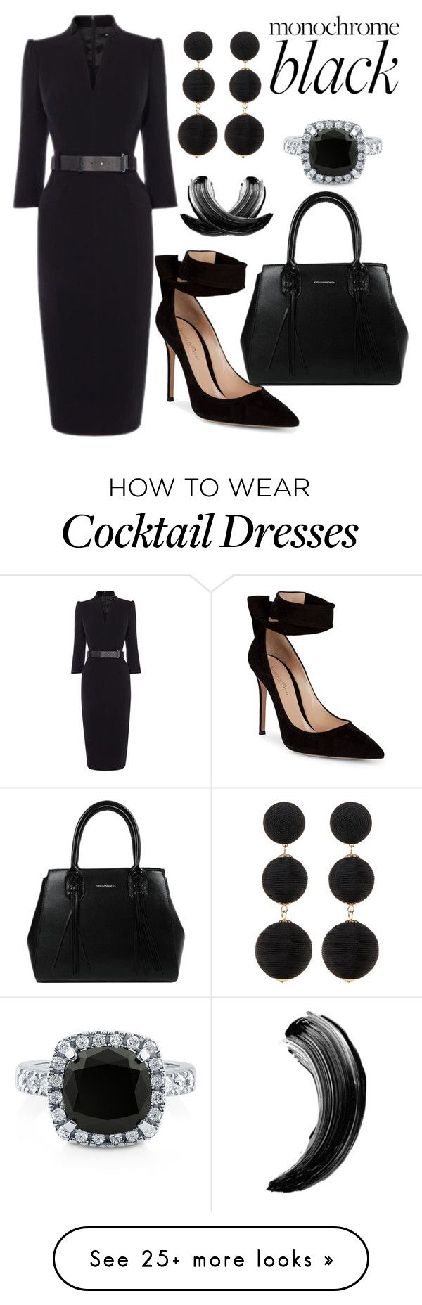 """""""Monochrome Black"""" by ghostgypsy on Polyvore featuring Gianvito Rossi, Cara, BERRICLE and allblackoutfit"""
