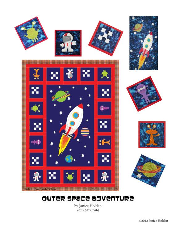 Outer space adventure crib quilt pattern by for Outer space quilt