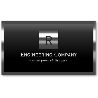 steel border monogram engineering business card business card