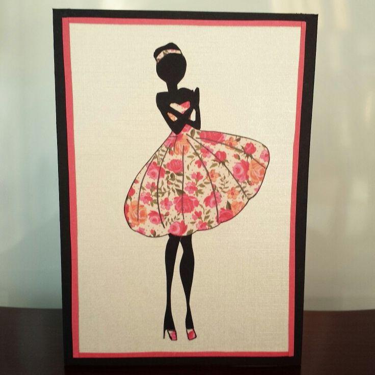 Fashion Silhouette Greeting Card #fashion #silhouette #floral #dress #lady #greetingcard #handmadecards #petalsandperfumecards