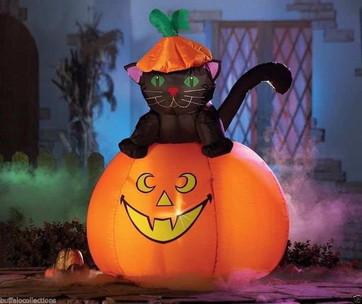 Giant Black Cat  Jack-O-Lantern Pumpkin Halloween Lighted Outdoor - large outdoor halloween decorations