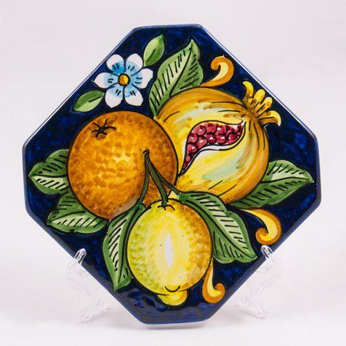 Miscellaneous: #Italy. Hot Pad. Fruits. #Caltagirone #Ceramics. Hand Made. 16 cm