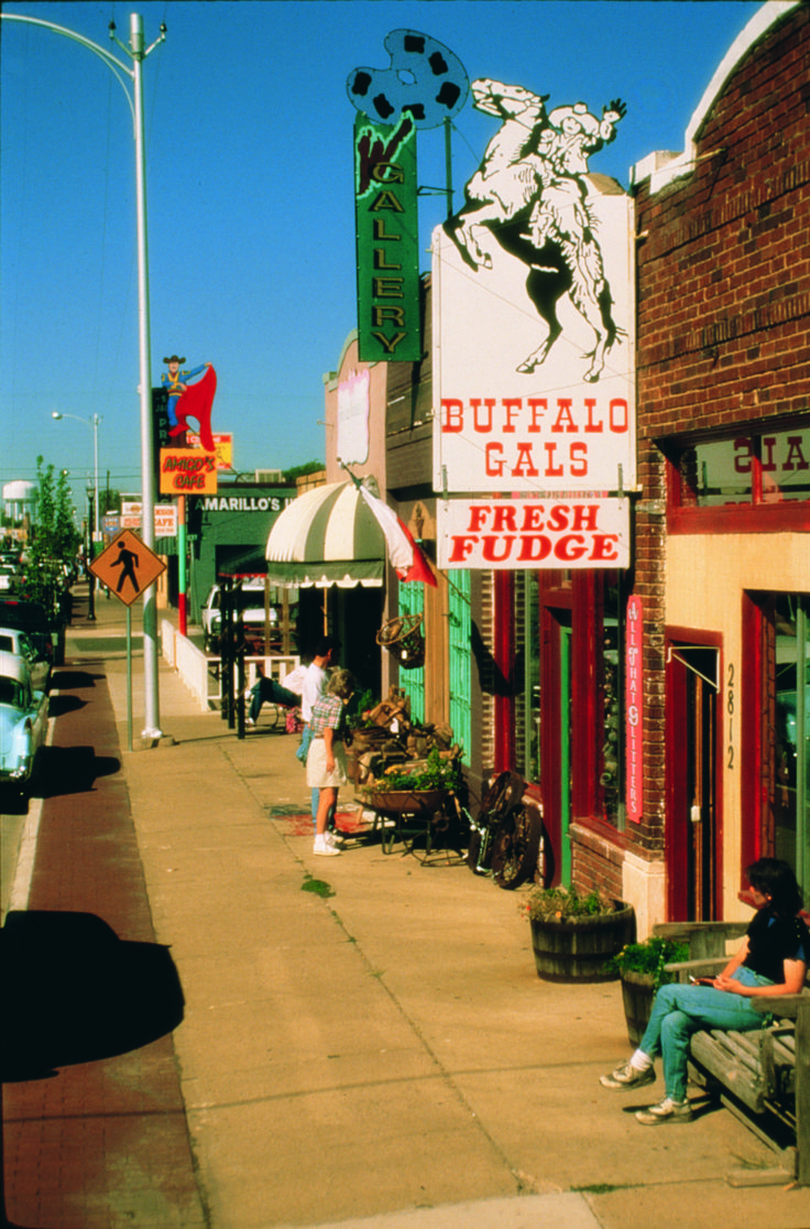 """TEXAS, Amarillo - Route 66 site seeing and shopping.  Amarillo was the largest Texas city on Route 66. Look for the """"Old Route 66"""" highway signs. Historic Route 66 is a mile of shops, restaurants and clubs along Sixth Ave."""