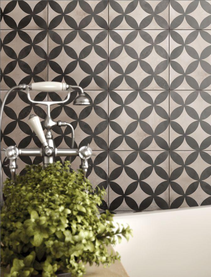 Casablanca Mono Décor 1/12 Decorative #mandarinstone #new #pattern #geometric #blackandwhite #bathroom