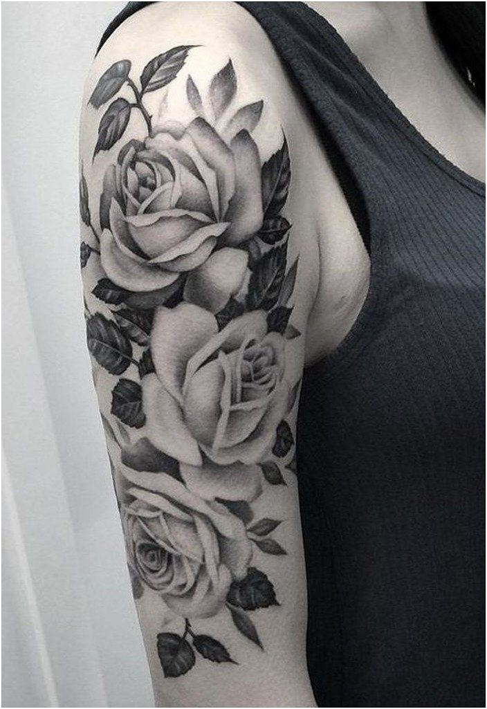 Wild Rose Arm Sleeve Tattoo Ideas For Women Classy Black Floral Shoulder Ideias De White Rose Tattoos Arm Sleeve Tattoos For Women Girls With Sleeve Tattoos