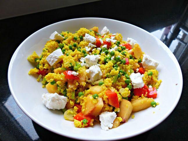 Couscous met geitenkaas, doperwtjes en nectarine (vega) - Optima Vita