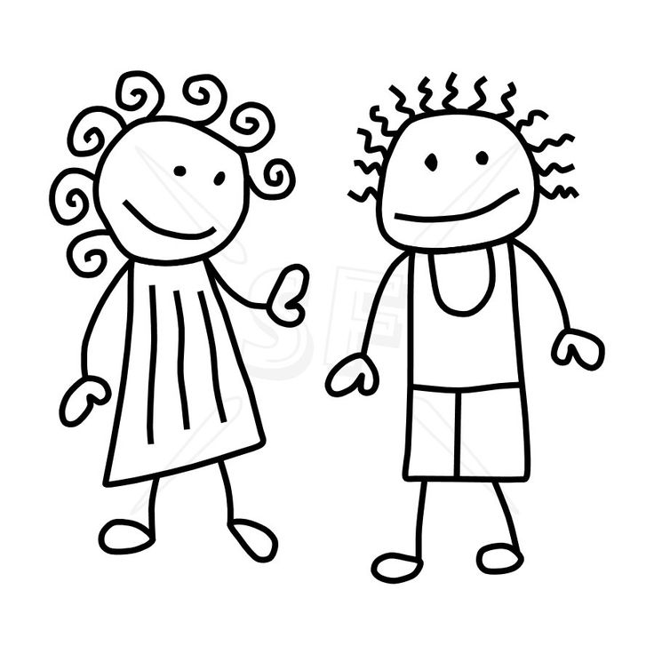 Line Drawing Of Child S Face : Stick figure clip art variety of people