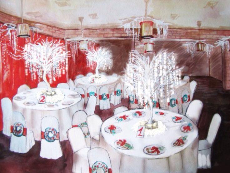 Оформления столов гостей в эскизах. Новогоднее оформление свадьбы