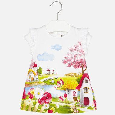 Dievčenské šaty s potlačou krajinky Mayoral - Red