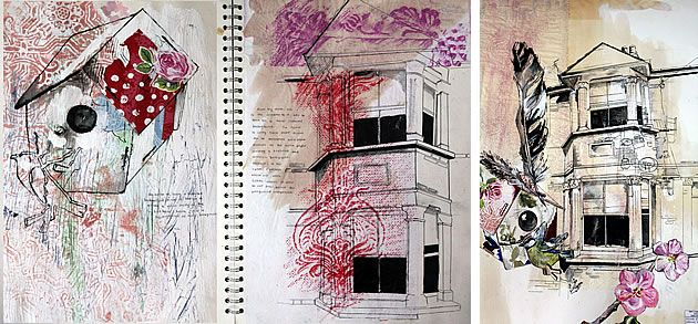 This A Level project uses line to show complex architectural details; drawings applied over beautiful mixed media layers, which helps to create rich, visually interesting sketchbook pages. - See more at: http://www.studentartguide.com/articles/how-to-draw-and-paint-faster#sthash.zWMZfWDu.dpuf