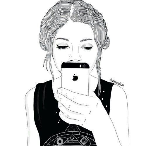 black, cartoon, draw, girl, phone - image #3787824 by helena888 on ...