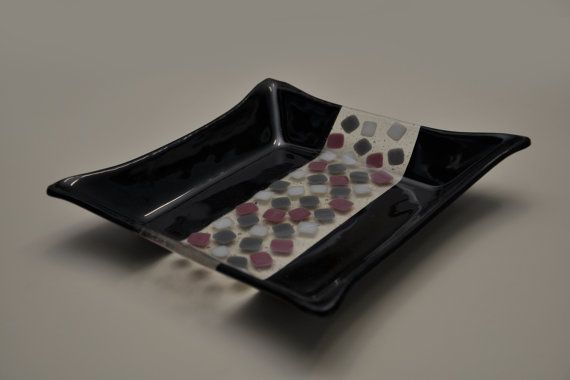 "Decorative handmade plate ""Camino Negro"" by ASTGLASS,"