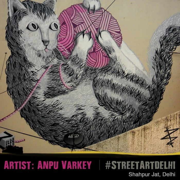 #AnpuVarkey #streetart #delhi #street #art #artist #graffiti #WallArt #cat #spinning