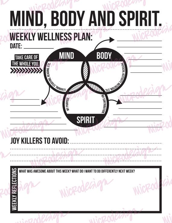 mind body spirit: weekly wellness plan by microdesign on Etsy                                                                                                                                                                                 More