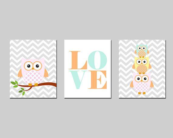 Nursery printable owl family LOVE set wall art kids room