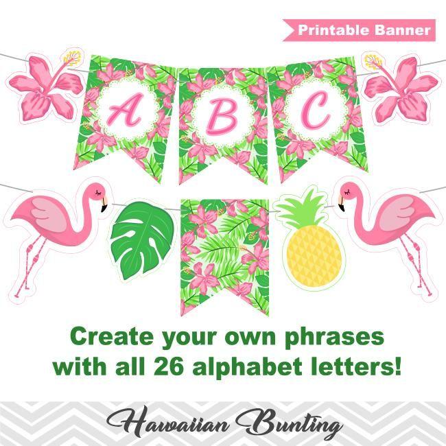 Printable Hawaiian Bunting Pineapple Aloha Banner Printable Tropical Party Bunting Luau Party Banner 00286 Free Printable Banner Letters Party Banner Printable Templates Pattern
