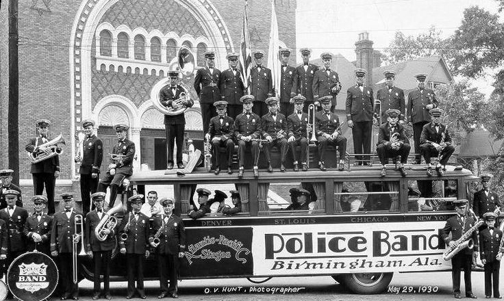 Birmingham, Alabama Police Department had a large band in 1930. This photograph was taken of the band by Oscar V. Hunt, Birmingham's first commercial photographers on May 29, 1930. (Birmingham Public Library Oscar V. Hunt holdings). The Birmingham Police Department ... Read More