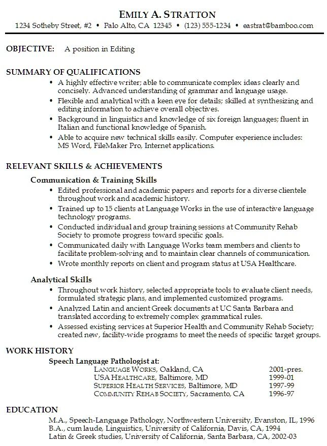 Resume Objective Summary Download Objective Summary For Resume - summary of qualifications resume examples