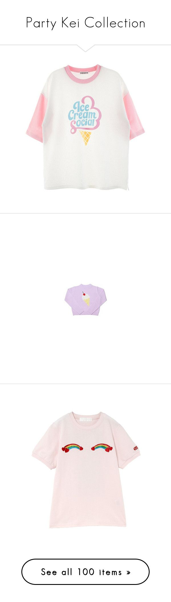 """""""Party Kei Collection"""" by infiglo ❤ liked on Polyvore featuring tops, t-shirts, shirts, tees, short-sleeve shirt, white short sleeve shirt, tee-shirt, round neck t shirt, print shirts and clothing - ls tops"""