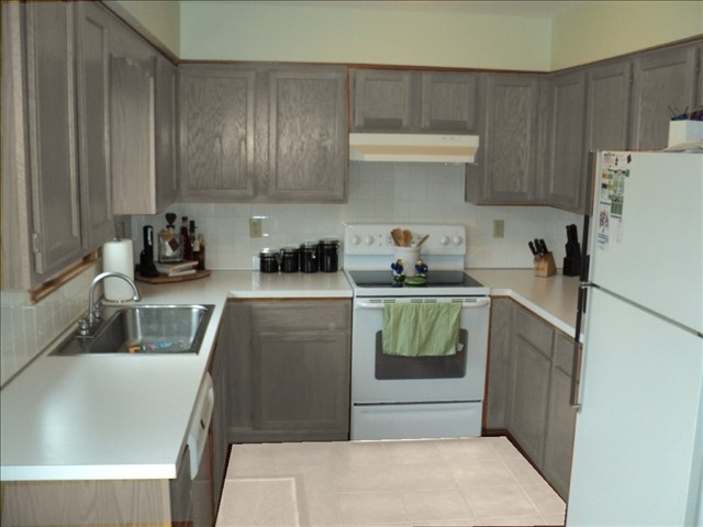 Gray cabinets and white appliances~ those are my exact cabinets! Do I