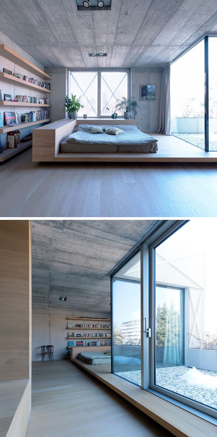 BEDROOM DESIGN IDEA - Place Your Bed On A Raised Platform // This sleeping area…