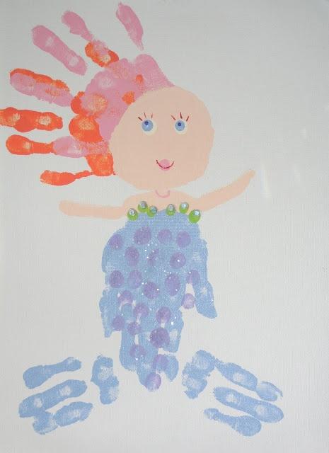 Cute Kids'  Kraft  !!!!!!!!!!!!!!!!Handprint mermaid